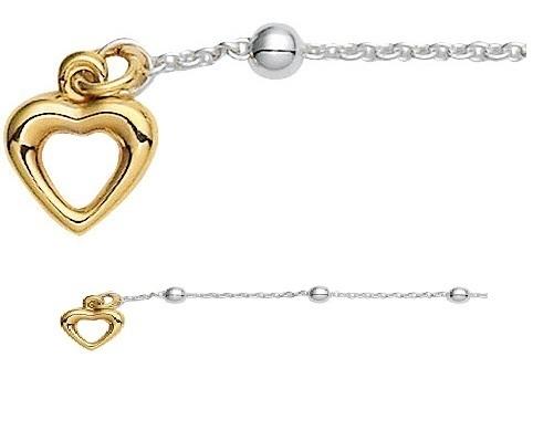 925 Silber Anker Fußkette 25 cm mit Herzanhänger