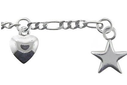 925 Silber Fußkette 25 cm mit Herz und Sternanhänger