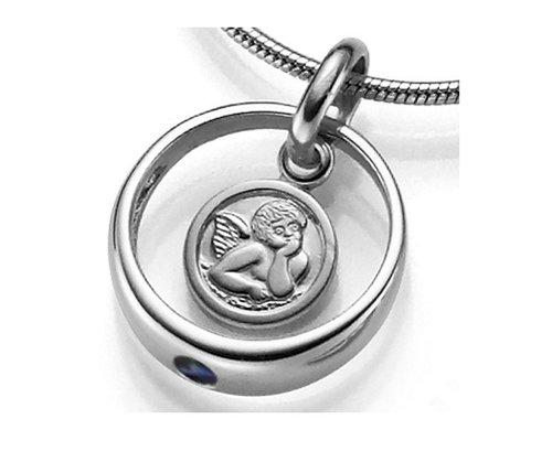 925 Silber Taufring Engel Kettenanhänger Blau