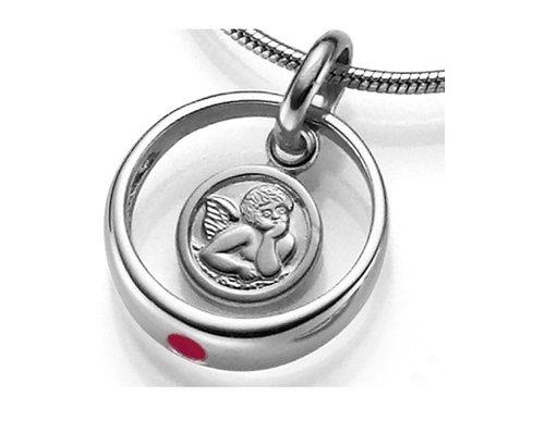 925 Silber Taufring Engel Kettenanhänger Rot