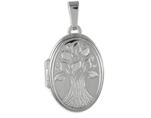 925 Silber Medaillon Motiv Lebensbaum zum öffnen