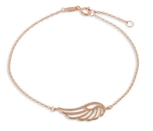 "925 Silberarmband "" Feder "" 17/19cm rosé vergoldet"