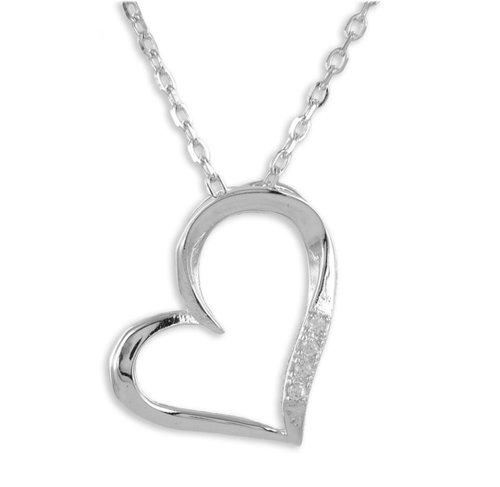 925 Silber Kette mit Zirkonia Herz Anhänger