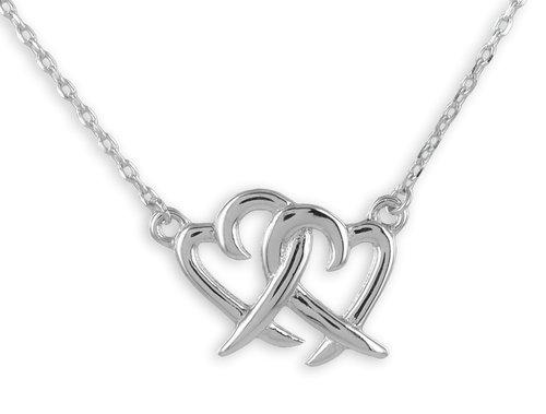 Herz Collier in 925 Silber mit 2 Herzen Mittelteil glänzend