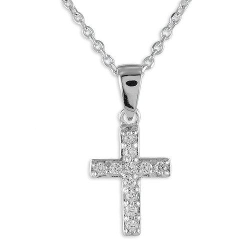 925 Silber Kette Kreuz Anhänger Zirkonia