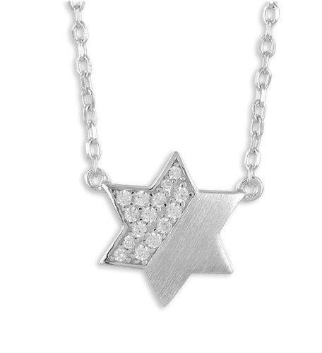 Silber Kette mit Stern Anhänger mattiert und mit Zirkonia