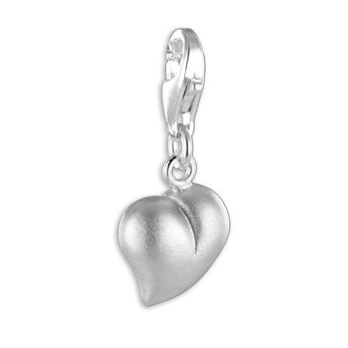 925 Silber Charms Einhänger Herz teilmattiert