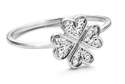 Kleeblatt Silber Ring mit Zirkonia