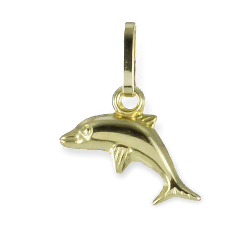 333 Gold kleiner Delphin Kettenanhänger