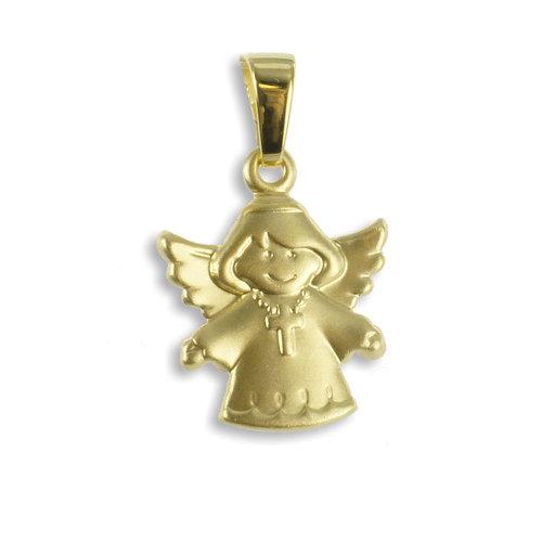 333 Gold Kettenanhänger Engel mit Kreuz
