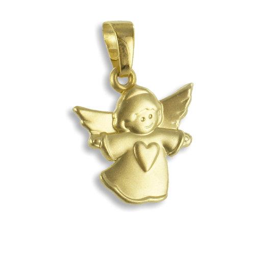 333 Gold Kettenanhänger Engel mit Herz