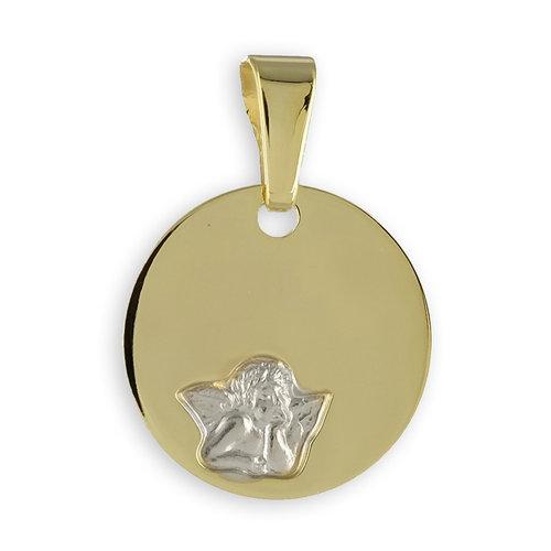 333 Gold runde Gravurplatte Kettenanhänger Engel