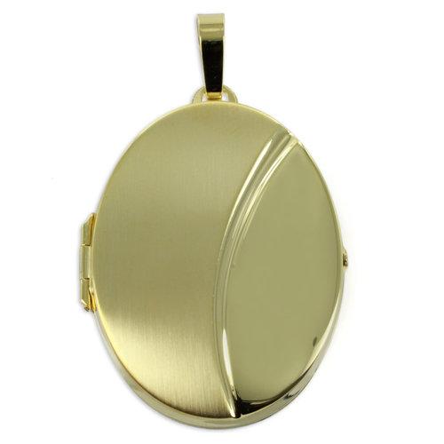 333 großes Gelbgold Medaillon  teilmattiert 4,9 cm