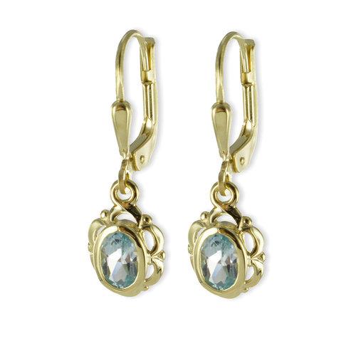 333 Gold Ohrhänger mit ovalen Blautopas