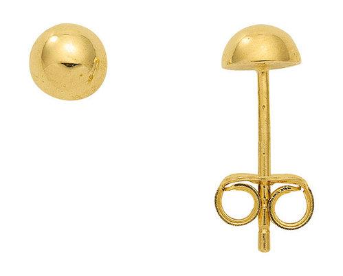 Glänzende Ohrstecker 5 mm Halbkugel in 333 Gold