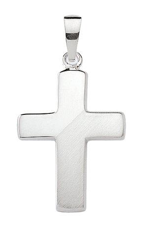 Silber Kreuzanhänger halb mattiert 19,7 mm Länge