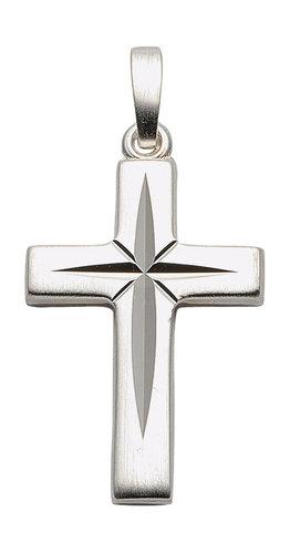 925 Silber Kreuz Anhänger 21 mm lang mit Schliff