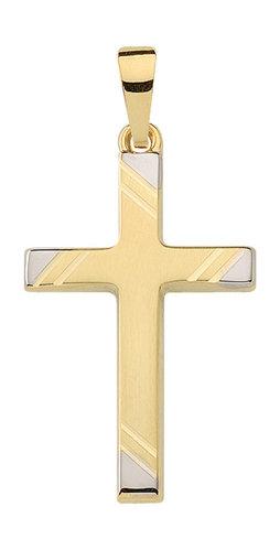 Gold Kreuz Anhänger bicolor Design