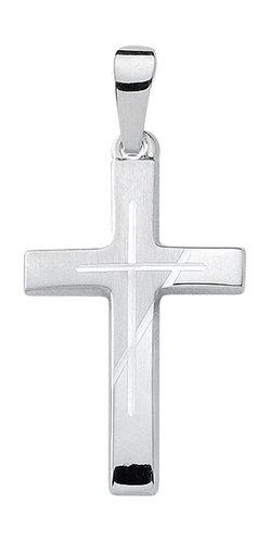 Weißgold Kreuz Anhänger teilmattiert
