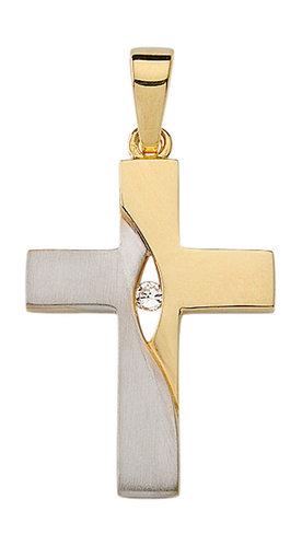 925 Silber Kreuzanhänger bicolor teilvergoldet