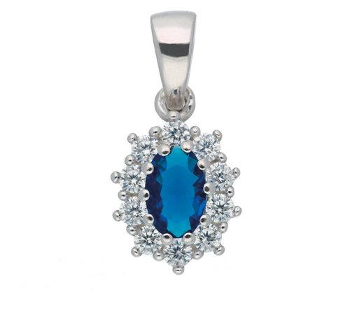 Kettenanhänger mit blauen Zirkonia 925 Silber