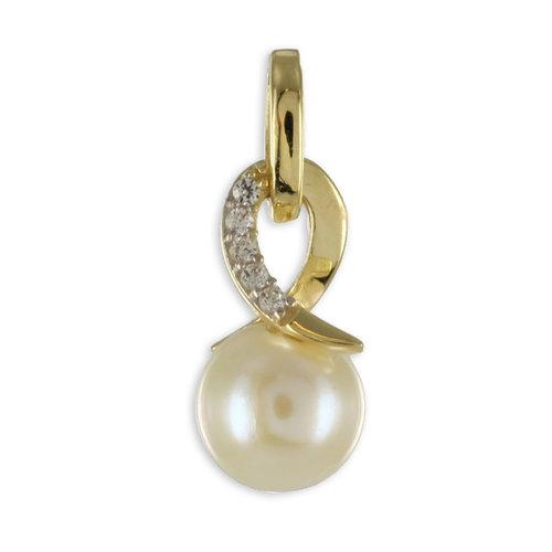 Perlenanhänger in 333 Gold mit Zirkonia Höhe 14,4 mm