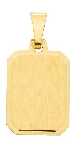 Gold Gravurplatte Kettenanhänger 10,8x15,4 mm