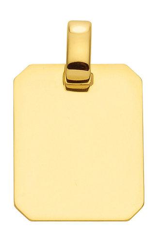 Gold Gravurplatte Kettenanhänger 14,9x18 mm