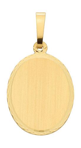 Ovale Gold Gravurplatte Kettenanhänger Höhe 17,5mm