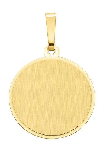 Runde 585 Gold Gravurplatte als Kettenanhänger 15,5 mm