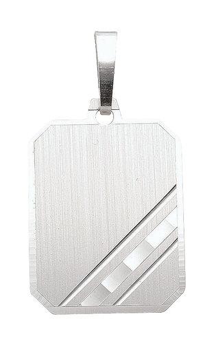 925 Silber mattierte Gravurplatte 13,9x17,5mm