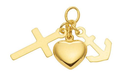 """Kettenanhänger in Gold """"Glaube Liebe Hoffnung """""""
