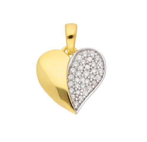 Zirkonia Herz Anhänger in 333 Gold