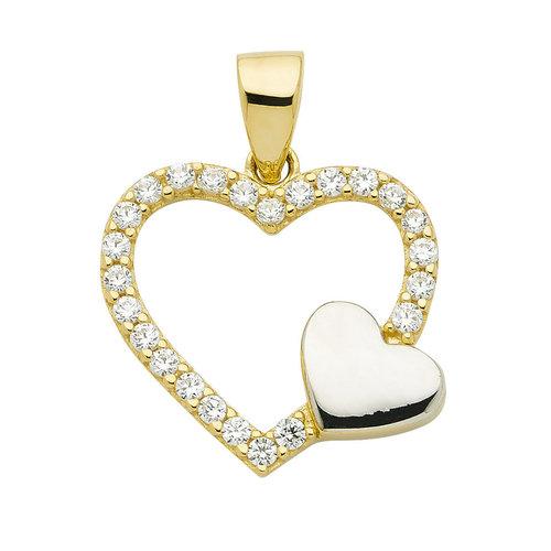 Herz komplett mit Zirkonia besetzt in 333 Gold