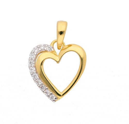 Herz Kettenanhänger mit Zirkonia 12,3 mm in 333 Gold