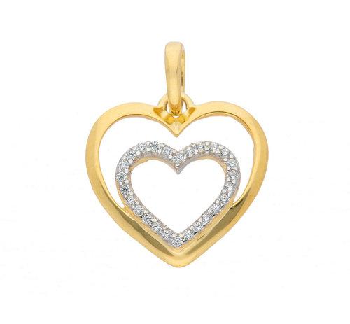 Herz Kettenanhänger in 333 Gold mit Zirkonia 13,2 mm
