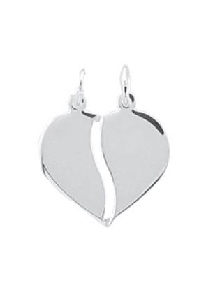 925 Silber Partneranhänger 2 Teile Herz