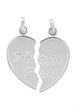Silber Partneranhänger 2 Teile Herz mit Gravur