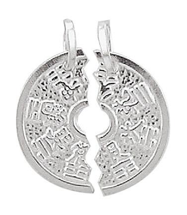 925 Silber Partneranhänger 2 Teile Medaille