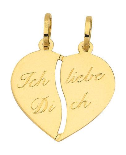 Gold Herz Partner Anhänger zum teilen