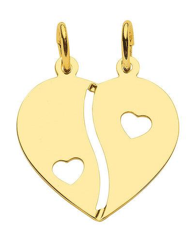 Gold Herz Partner Anhänger mit 2 Herzen zum teilen