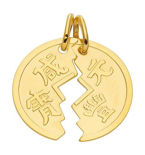 Partneranhänger in 585 Gold Medaille zum teilen mit 2 Ösen