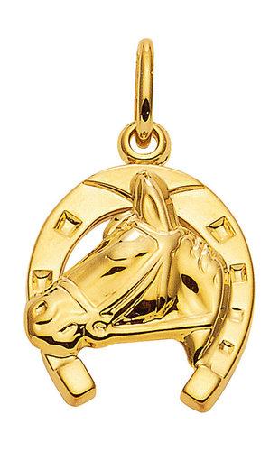 Hufeisen mit Pferdekopf 333 Gold