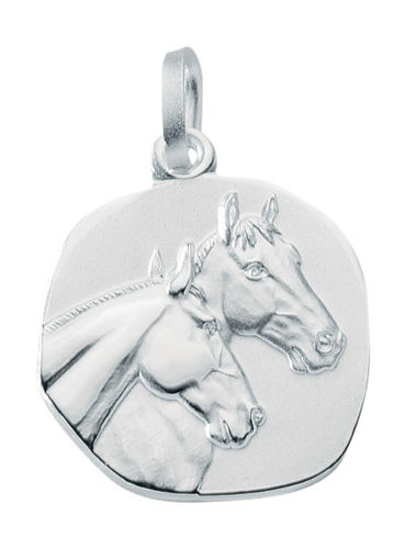 Pferde Medaille 925 Silber mit zwei Pferdeköpfen