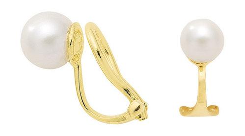 Ohrclips in Gold mit Zuchtperle ohne Rand