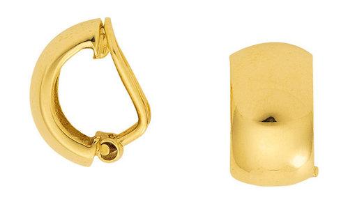 Gold Ohrclip im halbcreolen Design 7,4 mm breit