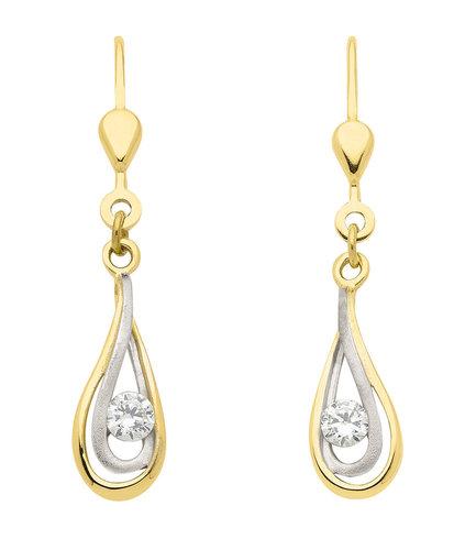 Schöner stilvoller Gold Ohrhänger mit Zirkonia besetzt