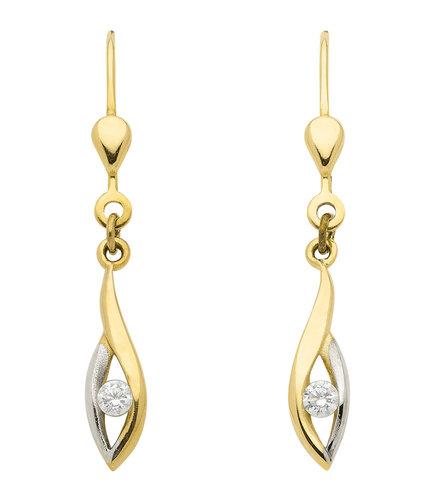Klassisch Schöne Ohrhänger mit Zirkonia in 333 Gold