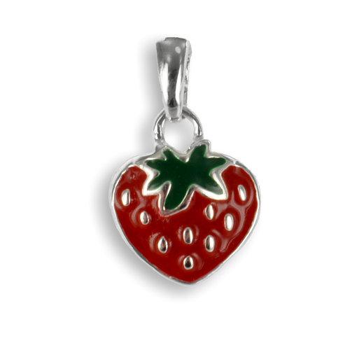 925 Silber Kettenanhänger  Erdbeere