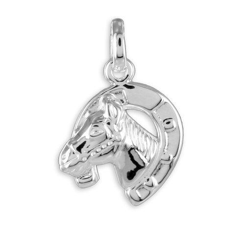 Hufeisen mit Pferdekopf in 925 Silber